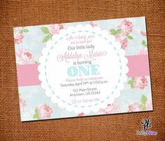 Shabby Chic Birthday Invitation Vintage Floral Pink Blue Girl First Birthday 1st Birthday The Big ONE Girl Pattern - Printable Digital File on Etsy, $10.00