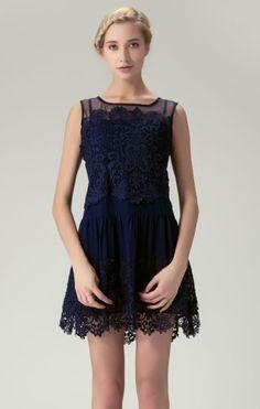 #sheinside Navy Sleeveless Embroidery Pleated Lace Dress - Sheinside.com