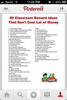 50 Inexpensive Classroom Rewards