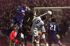 17 January 1996 Duncan Ferguson heads home as Everton win the FA Cup replay at Stockport 3-2