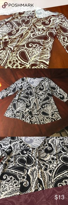 Plus size Black and White Blouse Black and white blouse with beautiful draping down the front.  95% polyester 5% spandex. In perfect condition! Nine West Tops Blouses