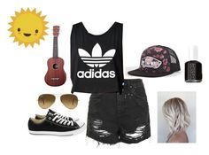 """""""Summer"""" by bandsvansandsodacans ❤ liked on Polyvore featuring Topshop, adidas, Converse, Vans, Ray-Ban, Essie and cutekawaii"""