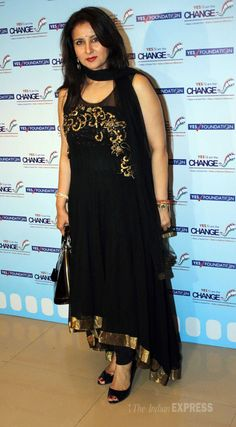 Poonam Dhillon looking graceful in a black anarkali. #Bollywood #Fashion #Style…