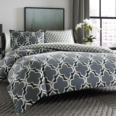 #CityScene #gray and #white #bedding from @wayfair #Wayfair #bedroom #bed