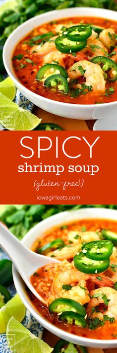 Spicy Shrimp Soup is a copycat recipe from our favorite Ecuadorian restaurant. Spicy, garlicky, and comforting, you will eat bowl after bowl of this easy soup recipe! I'm sitting here at eati Meeresfrüchte Spicy Shrimp Soup (Iowa Girl Eats) Easy Soup Recipes, Fish Recipes, Seafood Recipes, Mexican Food Recipes, Cooking Recipes, Healthy Recipes, Spicy Recipes, Healthy Soup, Healthy Eating