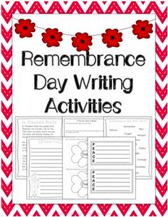 A variety of writing activities to use for Remembrance Day. PEACE acrostic poem, Thank You writing paper, In Flanders Fields poem reflection and more...