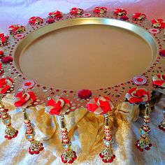 The Nikkah collection, a stunning plate in red and gold. See my Facebook page www.facebook.com/mehnditraysforfun