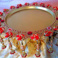 The Nikkah collection, a stunning plate Kalash Decoration, Thali Decoration Ideas, Diwali Decorations, Festival Decorations, Wedding Decorations, Engagement Ring Platter, Indian Wedding Favors, Mehndi Ceremony, Diwali Craft