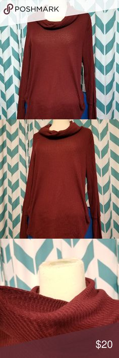 Cowl-Neck Waffle-Knit Long Sleeve This garment is thin. It has a lovely cowl neck and long sleeves. Ultra Flirt Sweaters Cowl & Turtlenecks
