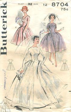 Butterick 8704 Vintage 1960s Mad Men Wedding Dress Pattern B32