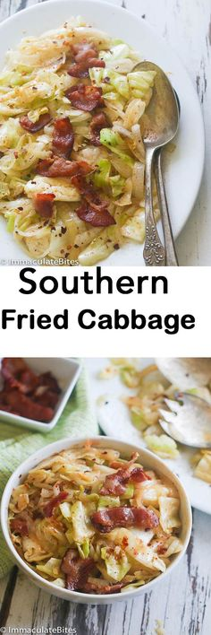 Cabbage Fried Cabbage - Simple, tasty , flavored with garlic and bacon -Ready in less than no time.Fried Cabbage - Simple, tasty , flavored with garlic and bacon -Ready in less than no time. Side Dish Recipes, Vegetable Recipes, Veggie Meals, Veggie Food, Southern Fried Cabbage, Southern Cabbage Recipes, Think Food, Cooking Recipes, Healthy Recipes