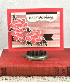 Floral Birthday Card by Dawn McVey for Papertrey Ink (August 2012)