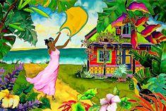 Coming Home Caribbean Artwork: Beach Decor, Coastal Decor, Nautical Decor, Tropical Decor, Luxury Beach Cottage Decor