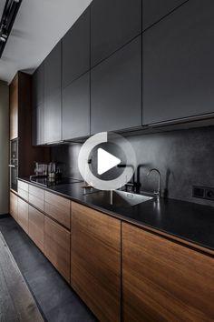 Elegnat Modern K Kitchen Island Decor, Modern Kitchen Cabinets, Kitchen Cabinet Design, Wooden Kitchen, Modern Kitchen Design, Black Bedroom Design, Bathroom Interior Design, Kitchen Interior, Modern Exterior House Designs