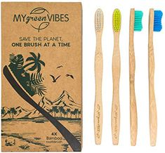 Bamboo toothbrushes from My green Vibes - 4 adult wooden toothbrush pcs - BPA Free Medium soft bristles - Organic, Natural, Biodegradable wood handle - Eco friendly family recyclable pack - For travel Biodegradable Products, Eco Friendly, Recycling, Wood, Green, Plastique Recyclable, Amazon Fr, Organic
