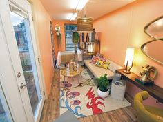 After: Midcentury Glamour - 8 x 20 interior of shipping container - design start HGTV