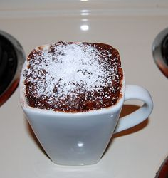 Chocolate-peanut butter cake in a cup, baked in the microwave!  Yum