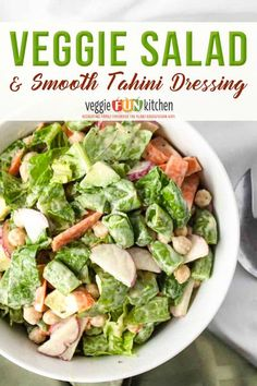 This recipe for veggie salad with a lemon tahini dressing is crunchy, flavorful, full of nutrition, and so easy to make! Make this crunchy vegetable salad with romaine lettuce, carrots, sliced radishes, snap peas, avocado, and chickpeas. Top off with a delicious, lemony, smooth, tahini dressing you can whip up in seconds! | Veggie Fun Kitchen @veggiefunkitchen #vegansaladrecipes #tahinidressingrecipes #vegancomfortfood #vegansalad #crueltyfreeeating #govegan #vegansummerrecipes… Raw Vegan Recipes, Vegan Dinner Recipes, Beef Recipes, Whole Food Recipes, Vegetarian Recipes, Cooking Recipes, Healthy Recipes, Lunch Recipes, Vegan Side Dishes