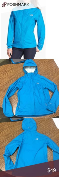 The North Face Venture Jacket in Acoustic Blue Windbreaker & raincoat with hood. Zipper pockets, zipper vents under arms. HyVent technology - breathable waterproof fabric. No damage, but some minor discoloration at neck and the end of the sleeve. Zips into its own pocket so it's great to pack on trips. Great for cycling and hiking on wet or windy days. The North Face Jackets & Coats