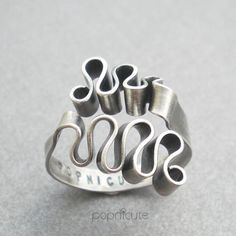 Argentium Silver Adjustable Ring Ribbon Scribble Wavy Wire Finger Ring | popnicute - Jewelry on ArtFire