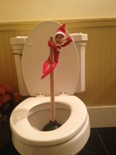 Elf on the shelf idea - Oh my, what is he up to now.