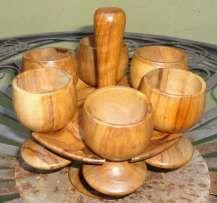 Set de 6 pahare lemn cu suport cu tot