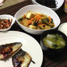 鯖の西京焼き&厚揚げと小松菜の煮物&カブの味噌汁
