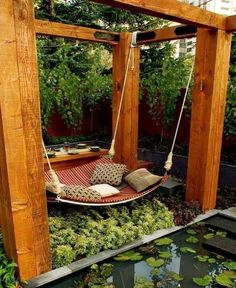 This swing is located in the centre of plants. The plants can hide this secret place and become your secret base