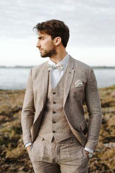 7eb40676c6ce0 Linnèo Archivable Clothing brown linen groom suit Linen Wedding Suit
