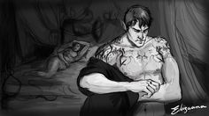 Just a quick sketch of Rhysand leaving Amanthara's bed, disgusted of himself.