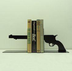 Pistol Metal Art Bookends - Free USA Shipping