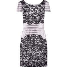 Tibi Lace-Print Silk-Blend Dress ($225) ❤ liked on Polyvore featuring dresses, tibi, vestidos, lace, women, lace print dress, exposed zipper dress, v back dress and stripe dress