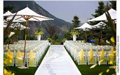 Charming yellow Colorado mountain wedding ceremony decor by T'Da Design
