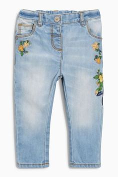 Buy Mid Blue Floral Embellished Jeans (3mths-6yrs) from the Next UK online shop