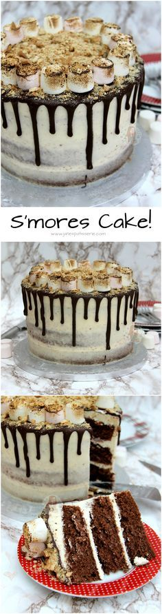 S'mores Cake! ❤️ Chocolate Sponge, Marshmallow Fluff Buttercream Frosting, Toasted Marshmallows and Crushed Biscuits make the ultimate S'mores Cake to end all S'mores. Easy, Delicious, and Sweet…yum!