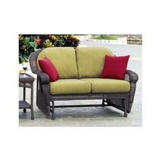 South Sea Rattan Montego Bay Wicker Cushion Arm Glider Loveseat (80.950 RUB) ❤ liked on Polyvore featuring home, outdoors, patio furniture, wicker garden furniture, wicker loveseat, wicker patio furniture, outdoor wicker glider and outdoor furniture