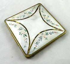 Vintage Antinea Paris Mother of Pearl Powder Compact | eBay