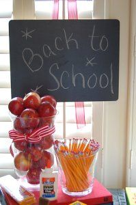 Cute idea for open house...back to school party decor