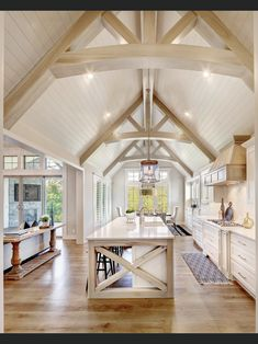 Vaulted Ceiling Kitchen, Ceiling Beams, Vaulted Ceilings, Vaulted Ceiling Bedroom, Vaulted Living Rooms, Vaulted Ceiling Lighting, Shiplap Ceiling, Dream Home Design, My Dream Home