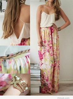 Long dress for summer with floral print