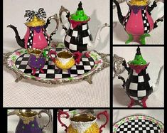 Whimsical Painted Floor Lamp, Painted Lamp, Floor Lamp, Custom Painted Lamp hand painted home decor Will Turner, Tee Set, Silver Tea Set, Painting Lamps, Mad Hatter Tea, Hand Painted Furniture, My Tea, Hat Making, Lazy Susan