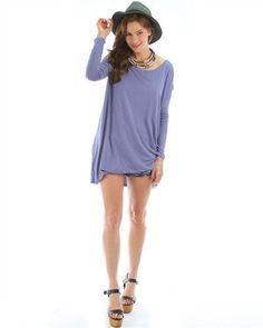 BLUE SLATE OVER-SIZED LONG SLEEVE TUNIC DRESS