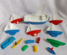Lot of 13 Vintage Plastic Dime Store Toys Ships Fire Engine Trucks Canoe #Unbranded