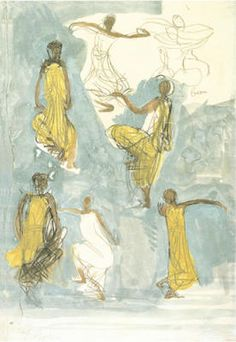 Cambodian Dancers by Auguste Rodin Auguste Rodin, Camille Claudel, Rodin Drawing, Ink In Water, Principles Of Art, Renaissance Art, Watercolor And Ink, Figure Drawing, Figurative Art