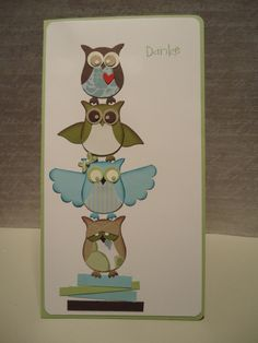 this thank you card shows some different ways to do wings for the owls and the eyes... make 'em white, black, or colors, change the eyelids, etc!