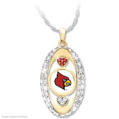 The Cardinal Crystal Heart Necklace Pendant From Danbury Mint Jade White Jewelry & Watches