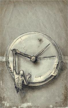 Clock art - Time Eccentric VIII by hypnothalamus Clock Drawings, Art Drawings, Fantasy Kunst, Fantasy Art, Art Du Temps, Arte Obscura, Clock Art, Clocks, Clock Painting