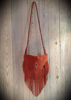 Rust Marrakech Suede Leather Fringe Handbag by nativerainbow, $185.00