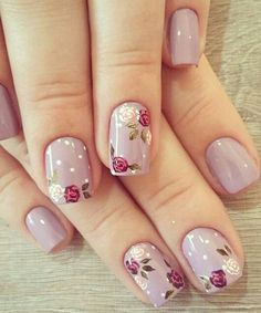 Decent looking flower nail art designs unhas decoradas diferentes, unhas elegantes, unhas pintadas, Nail Art Designs, Classy Nail Designs, Flower Nail Designs, Nail Designs Spring, Nails Design, Cute Gel Nails, Cute Acrylic Nails, Gel Nail Art, Acrylic Gel