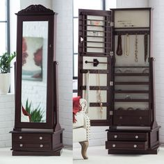Belham Living Swivel Cheval Standing Mirror Jewelry Armoire In A Cherry Finish - Belham Living Swivel Cheval Mirror Furniture, Home, Painted Jewelry Armoire, Wall Mounted Jewelry Armoire, Frames On Wall, Cheval Mirror Jewelry Armoire, Standing Mirror, Cheval Mirror, Armoire